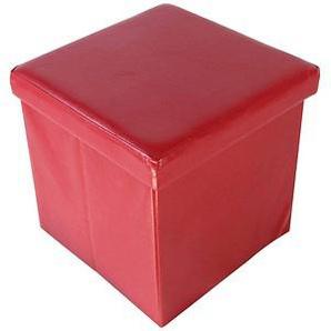 Echtwerk Store Cube Hocker rot Kunstleder