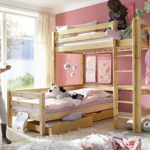 Eck-Etagenbett Kids Paradise, weiß mit Holzstruktur, 90x200 cm