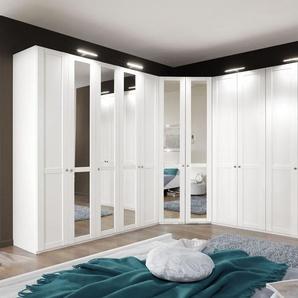 Eck-Kleiderschrank mit Spiegel im modernen Landhausstil - Alvito