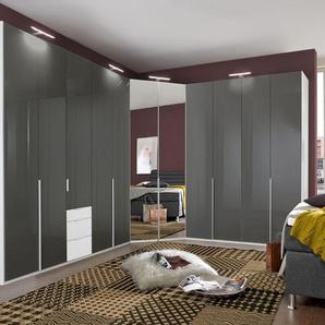 Eck-Kleiderschrank zweifarbig mit Glas- & Spiegeltüren - Bassiano