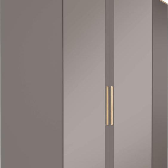 Eck-Kleiderschrank  mit Spiegeltürenv und viel Stauraum »Rula«, 114.5x201.5x114.4 cm (BxHxT), INOSIGN, grau, Material Spanplatte, Massivholz, Metall