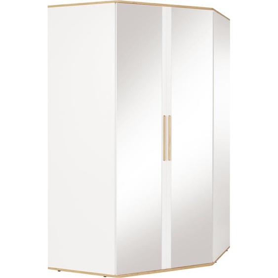 Eck-Kleiderschrank  mit Spiegeltürenv und viel Stauraum »Rula«, 114.5x201.5x114.5 cm (BxHxT), INOSIGN, weiß, Material Spanplatte, Massivholz, Metall