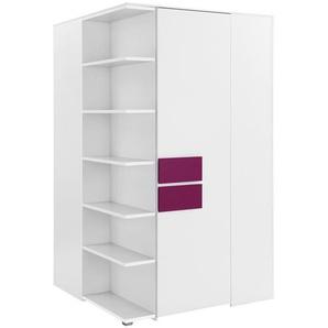 Eck-Kleiderschrank | weiß | 126,3 cm | 214,8 cm | 132,4 cm | Möbel Kraft