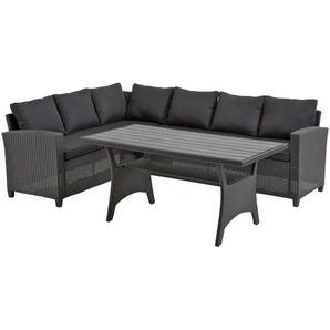 Eck-Sofa-Set ULLEHUSE (schwarz, mit Auflagen)