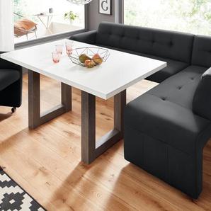 exxpo - sofa fashion Eckbank, schwarz, Material Massivholz, strapazierfähig