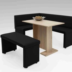 Eckbank in schwarzem Kunstleder, langer Schenkel rechts, Schenkelmaß lange Seite: ca. 168 cm, Schenkelmaß kurze Seite: ca. 128 cm