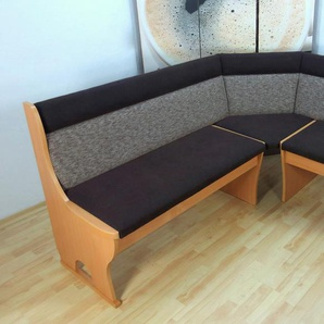Eckbank Madrid B/H/T: 125 cm x 85 165 cm, Struktur braun Eckbänke Sitzbänke Stühle