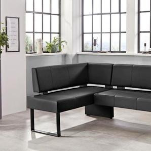 Eckbank Oliver, mit Metallgestell B/H/T: 220 cm x 89 160 cm, Kunstleder, langer Schenkel rechts schwarz Eckbänke Sitzbänke Stühle