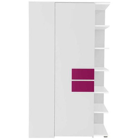 Eckkleiderschrank für Jugendzimmer Weiß Pink