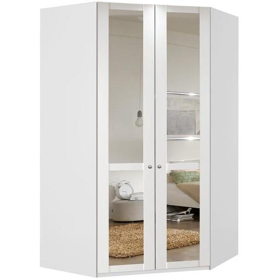 Eckkleiderschrank in alpinweiß, 2-trg. mit Spiegelelementen, mit 1 Kleiderstange und 8 Einlegeböden, Maße: B/H/T ca. 120/236/120 cm