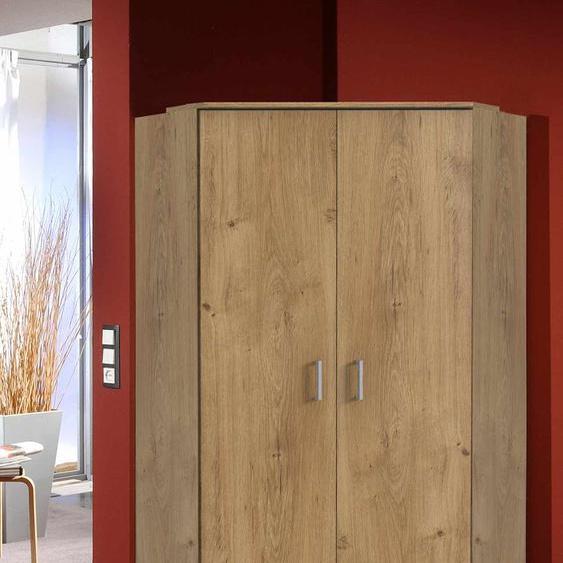 Eckkleiderschrank in Plankeneiche NB mit 8 Einlegeböden und 2 Kleiderstangen, Maße: B/H/T ca. 95/198/95 cm