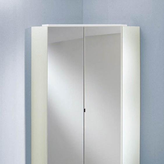 Eckkleiderschrank mit Spiegeltüren/alpinweiß, 8 Einlegeböden, 2 Kleiderstangen, Aufstellmaß:120x120 cm, Maße:B/H/T ca. 95/198/95 cm