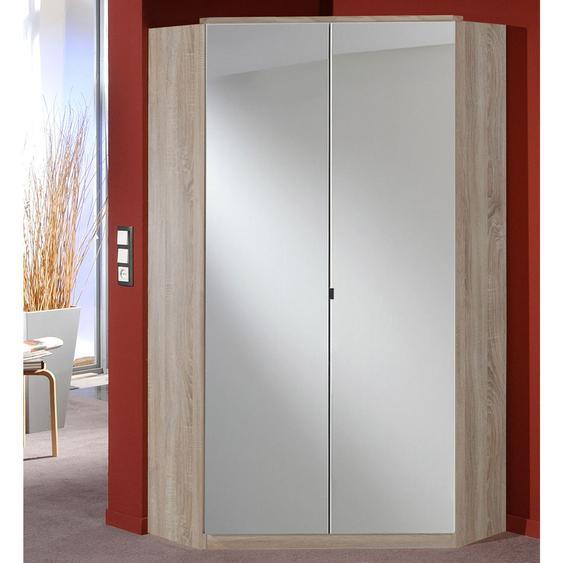 Eckkleiderschrank mit Spiegeltüren/Korpus Eiche sägerau-Nb., 8 Einlegeböden, 2 Kleiderstangen, Aufstellmaß:120x120 cm, Maße:B/H/T ca. 95/198/95 cm