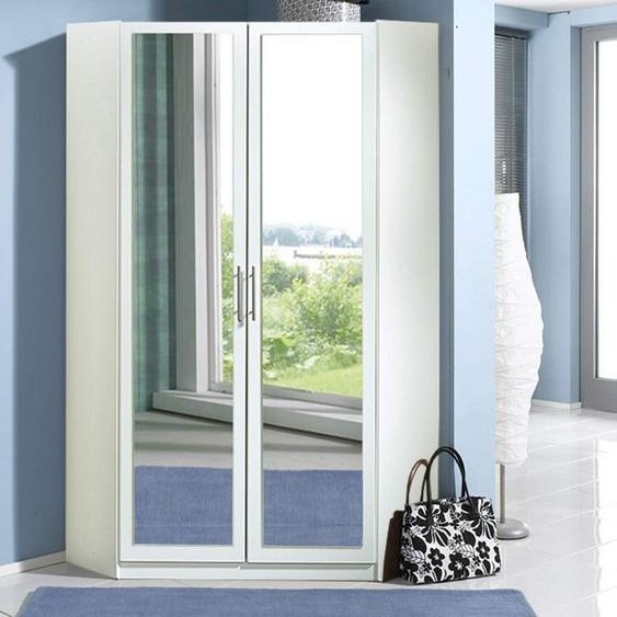 Eckschrank 2-türig in weiß mit Spiegel, 2 Kleiderstangen und 8 Einlegeböden, Maße: B/H/T ca. 95/198/95 cm