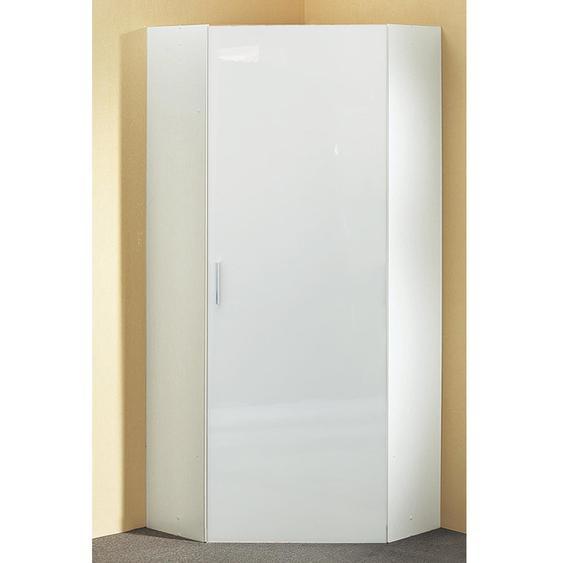 Eckschrank Hochglanz weiß mit 5 Einlegeböden, Maße: B/H/T ca. 80/185/80 cm