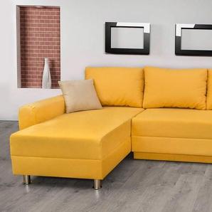 Ecksofa bezogen mit einem Microfaserstoff in gelb mit Schlaffunktion, Bettkasten und 2 Zierkissen in creme-beige, Schenkelmaß: 235 x 155 cm