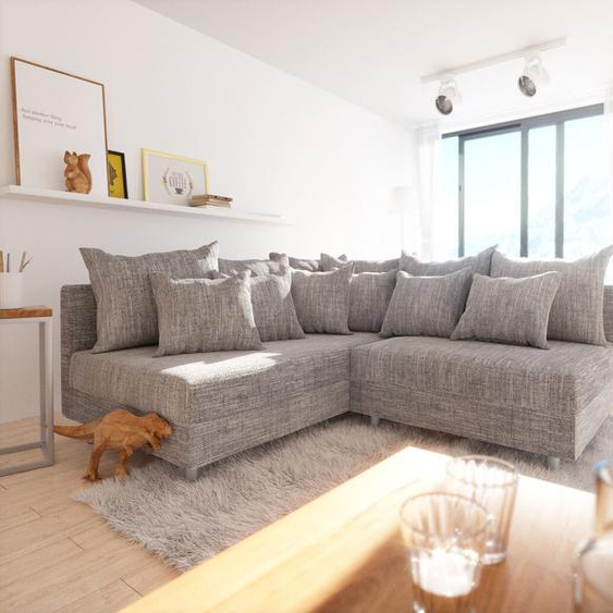 Ecksofa Clovis Hellgrau Strukturstoff Ottomane Links Modulsofa, Design Ecksofas, Couch Loft, Modulsofa, modular