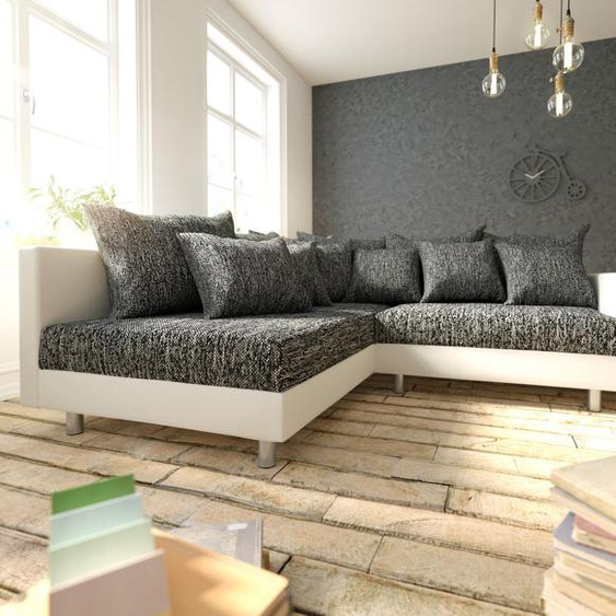 Ecksofa Clovis Weiss Schwarz Armlehne Ottomane Links Modulsofa, Design Ecksofas, Couch Loft, Modulsofa, modular