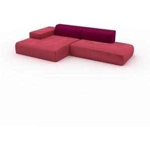 Ecksofa Korallenrot - Flexible Designer-Polsterecke, L-Form: Beste Qualität, einzigartiges Design - 310 x 72 x 168 cm, konfigurierbar