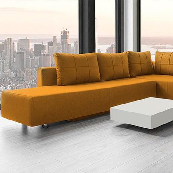 Ecksofa Schlafsofa, Webstoff, Mittelgrau, gold orange. Gästebett mit Liegeflächen 200x160cm oder 2x 200x80cm