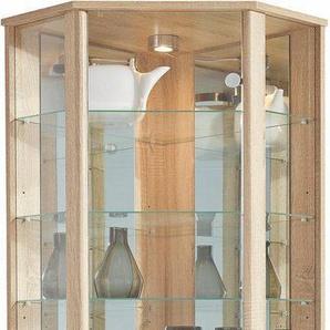 Eckvitrine, Höhe 172 cm, 7 Glasböden