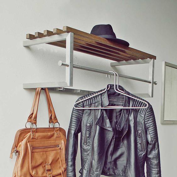 Edelstahl Garderobe mit Hutablage aus Massivholz modern