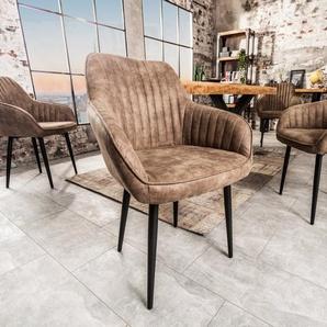 Edler Armlehnen Stuhl TURIN vintage taupe mit Ziersteppung