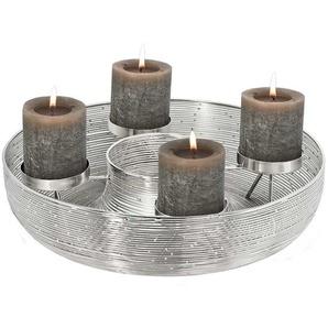 EDZARD Adventskranz Flint, Kerzenhalter für Stumpenkerzen, Tischdeko, Weihnachtsdeko 4 Kerzen, Kerzenkranz aus Edelstahl mit Silber-Optik Ø 30-40cm cm silberfarben Kunstkränze Kunstpflanzen Wohnaccessoires