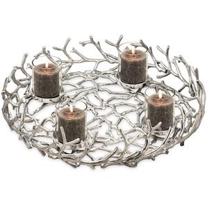 EDZARD Adventskranz Porus, Kerzenhalter für Stumpenkerzen, Tischdeko, Weihnachtsdeko 4 Kerzen, Kerzenkranz mit Silber-Optik, vernickelt Ø  40cm cm silberfarben Kunstkränze Kunstpflanzen Wohnaccessoires