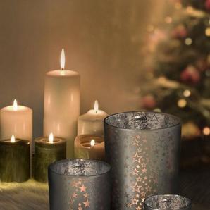 EDZARD Windlicht »Sterne«, Teelichthalter aus Glas mit Transparenz, Teelichtglas für Teelichter und Maxi-Teelichter, Kerzenhalter mit Höhe 18 cm, Ø 12 cm