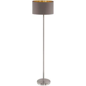 EGLO MASERLO Stehleuchte, Stahl, E27, Nickel-matt/Cappuccino/Gold, 38 x 38 x 151 cm