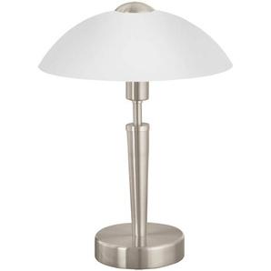EGLO Tischlampe, Nachttischlampe touch dimmbar Tischleuchte SOLO 1 aus Stahl mit Touchdimmer nickel-matt, E14, 26 x 26 x 35 cm