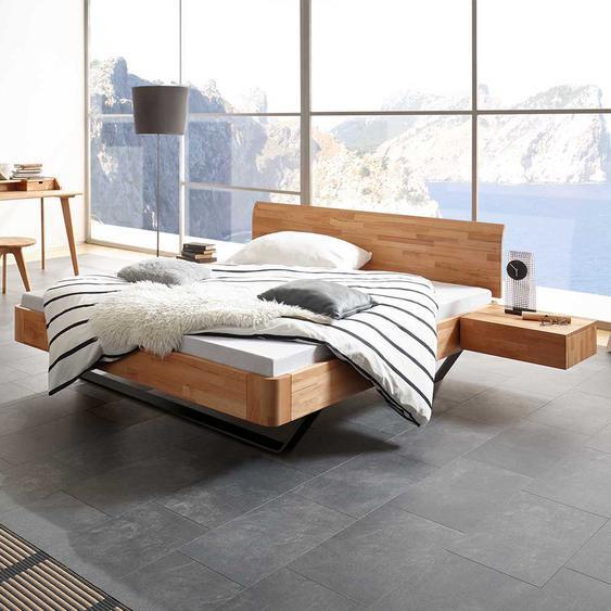 Ehebett aus Kernbuche Massivholz und Metall zwei Nachttischen (3-teilig)