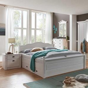 Ehebett im Landhausstil Weiß Kiefer massiv (dreiteilig)