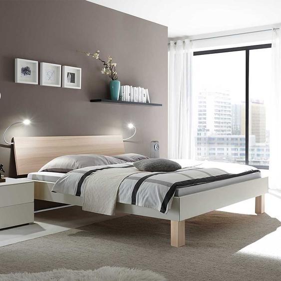 Ehebett in Esche hell und Weiß modern