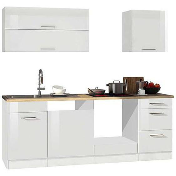 Einbauküchenzeile in Weiß hochglänzend 220 cm breit (6-teilig)