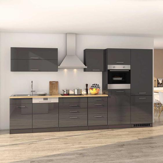Einbauküchenblock in Grau Hochglanz Geräten (13-teilig)