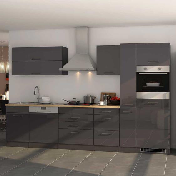 Einbauküchenzeile in Grau Hochglanz Geräten (13-teilig)