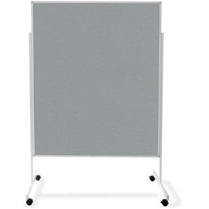 Einteilige Moderationstafel mit Rollen | Doppelseitig | 150 x 120 cm | Filz | Grau - MASTER OF BOARDS