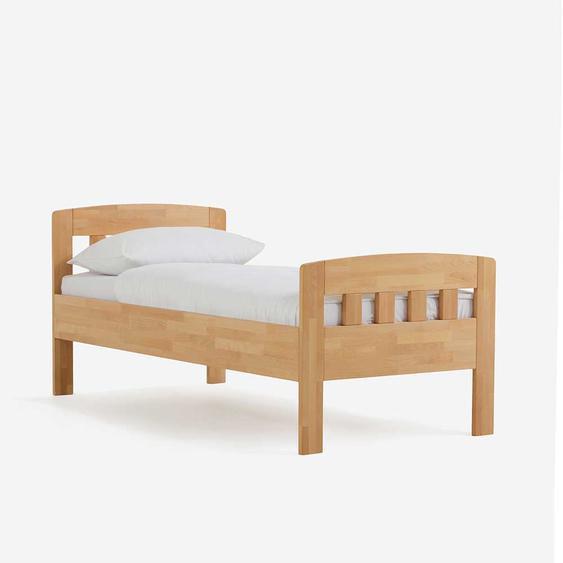 Einzelbett aus Buche Massivholz Komforthöhe