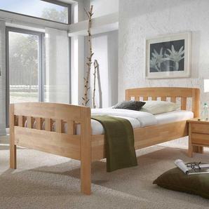 Einzelbett aus Kernbuche Massivholz mit Komforth�he