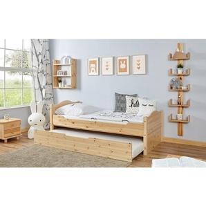 Einzelbett Leni 100x200 Kiefer massiv - mit Zusatzbett - natur