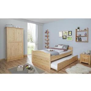 Einzelbett Leni 120x200 Kiefer massiv - mit Zusatzbett - natur
