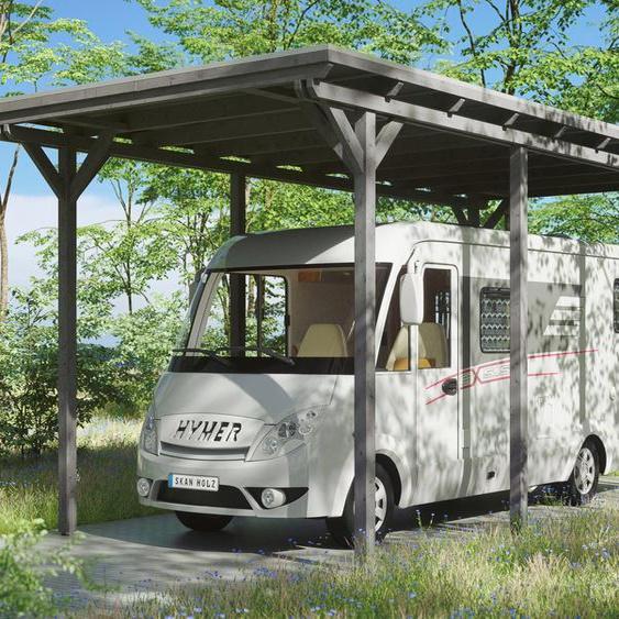 Einzelcarport »Caravan-Emsland«, Skanholz, grau, Material Fichtenholz, Aluminium
