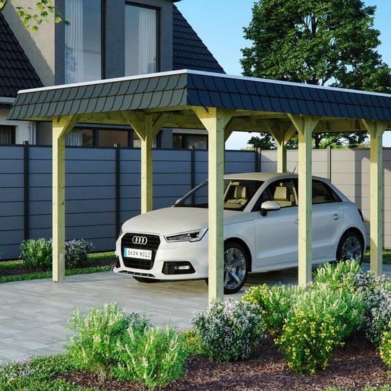 Einzelcarport »Spreewald«, Skanholz, grün, Material Fichtenholz