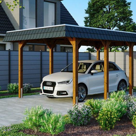 Einzelcarport »Spreewald«, Skanholz, braun, Material Fichtenholz, Aluminium