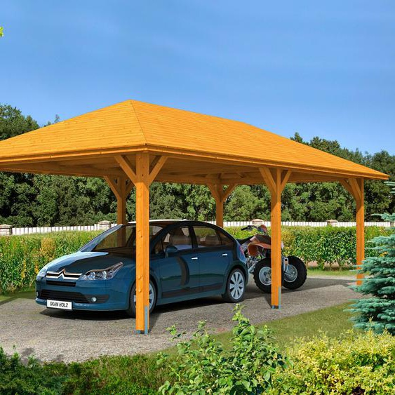 Einzelcarport »Taunus«, Skanholz, braun, Material Fichtenholz