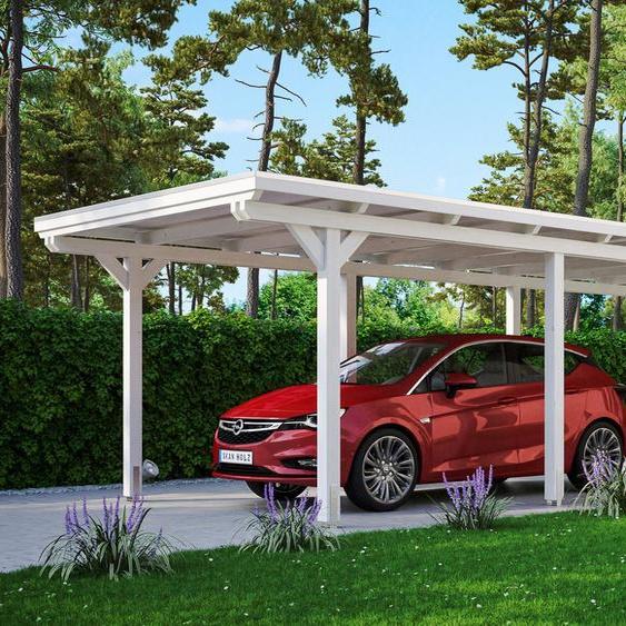 Einzelcarport »Emsland«, Skanholz, weiß, Material Fichtenholz, Aluminium