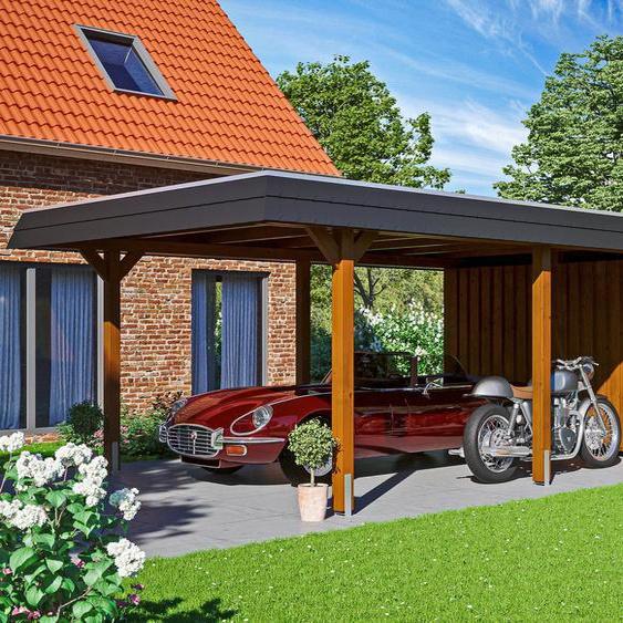 Einzelcarport »Wendland«, Skanholz, braun, Material Fichtenholz