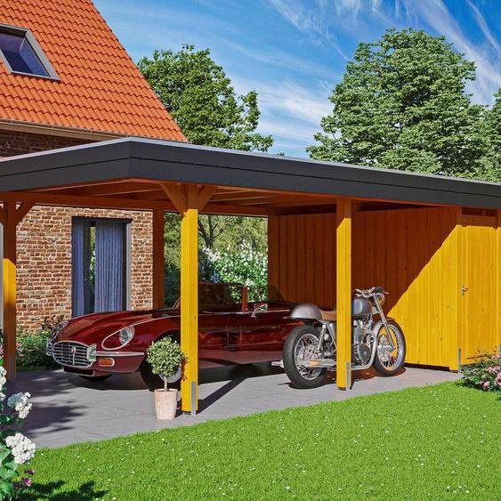 Einzelcarport »Wendland«, Skanholz, braun, Material Fichtenholz, Aluminium